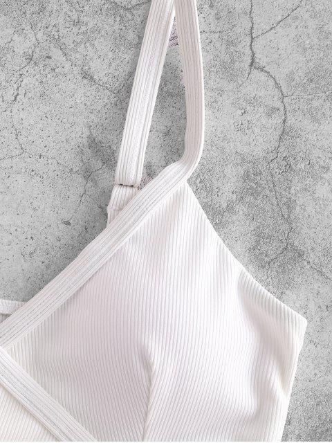 fancy ZAFUL Ribbed Side Boning Surplice Bikini Top - WHITE L Mobile
