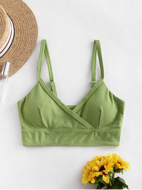women's ZAFUL Ribbed Side Boning Surplice Bikini Top - GREEN SNAKE S Mobile