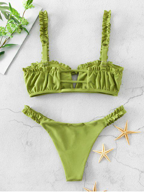 buy ZAFUL Ruffle Ladder Cut Keyhole Low Waisted Bikini Swimsuit - PISTACHIO GREEN M Mobile