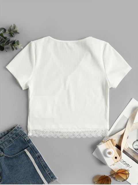 ZAFUL T-shirt Court Côtelé Panneau en Dentelle - Blanc L Mobile