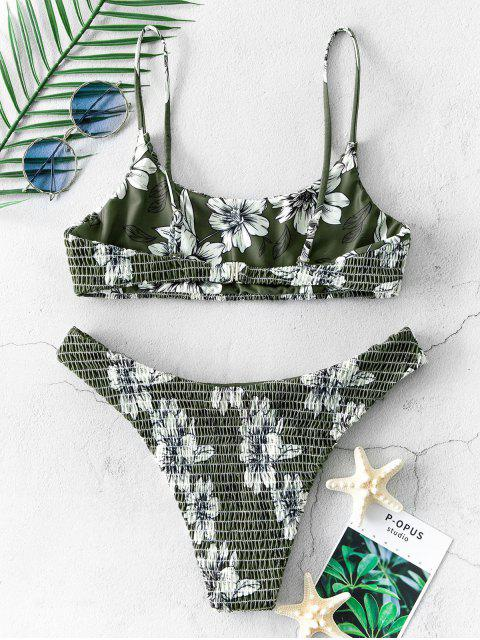 outfit ZAFUL Flower Smocked High Cut Bikini Swimsuit - HAZEL GREEN L Mobile