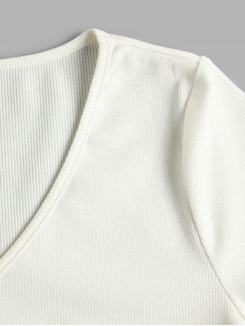 ZAFUL Geripptes Crop T-Shirt mit Spitzeneinsätzen - Weiß L Mobile