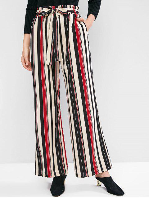 sale ZAFUL Striped Palazzo Paperbag Pants - MULTI-A S Mobile
