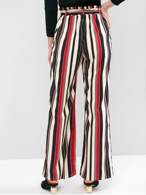 outfits ZAFUL Striped Palazzo Paperbag Pants - MULTI-A XL Mobile