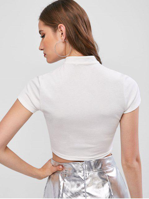 ZAFUL Colheita com Laço Botão Plunge Tee Cortado - Branco XL Mobile