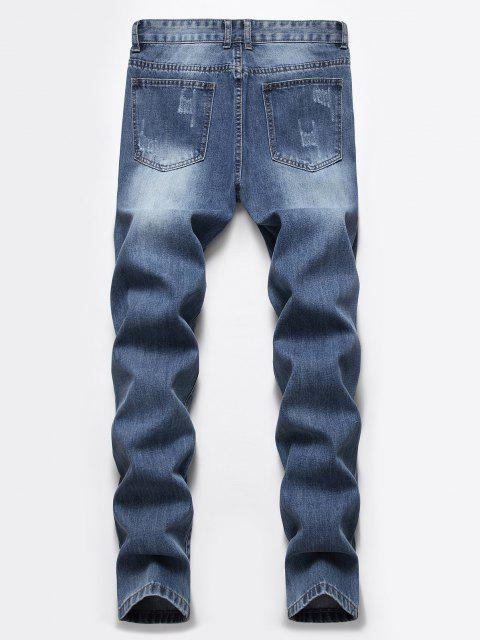 affordable Destroyed Ripped Button Fly Jeans - DENIM DARK BLUE 40 Mobile