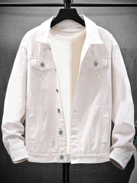 Lavagem Ocasional da Destruição Rasgada Jaqueta Jeans - Branco M Mobile