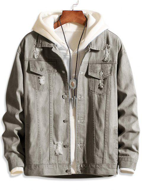 buy Casual Destroy Wash Ripped Denim Jacket - GRAY XS Mobile
