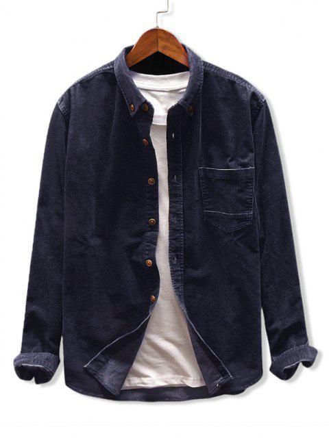 Camisa de Pana con Bolsillo de Color Sólido - Cadetblue XL Mobile
