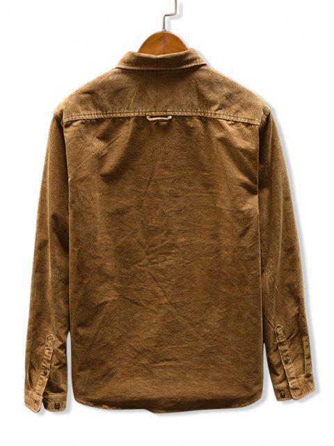 fancy Solid Color Pocket Corduroy Shirt - KHAKI XL Mobile