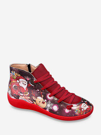 Christmas Santa Print Casual Ankle Boots - Lava Red Eu 42