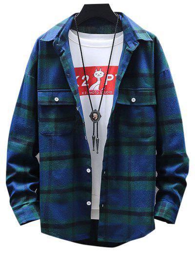 Camisa A Cuadros Con Bolsillo Y Botón - Verde 3xl