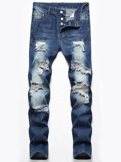 Destroyed Design Button Fly Jeans - Denim Dark Blue 32