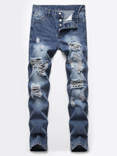 Destroyed Ripped Button Fly Jeans - Denim Dark Blue 32