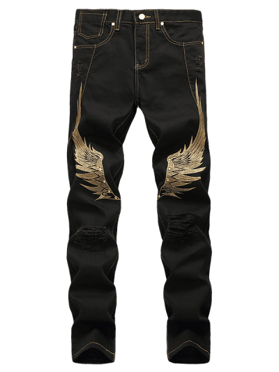 Wing Embroidered Zip Fly Casual Jeans
