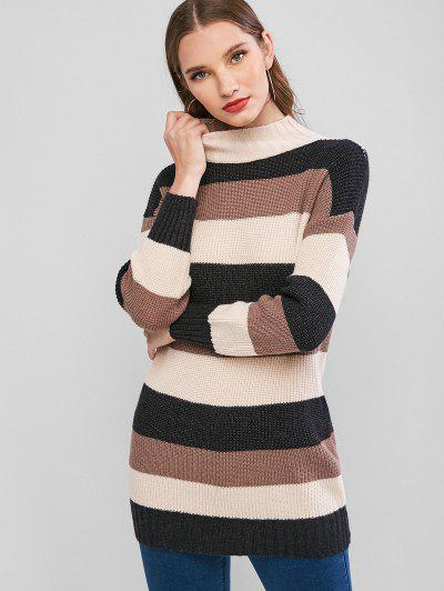 Mock Neck Colorblock Stripes Longline Sweater - Multi-a