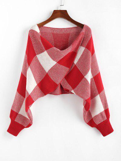 ZAFUL Checkered Cowl Front Twisted Batwing Sleeve Sweater - Red M