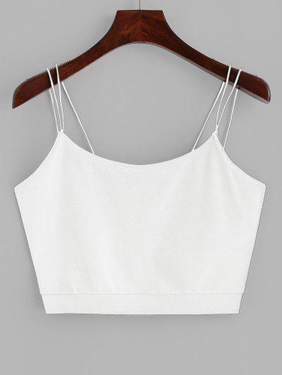 ZAFUL Solid Color Crop Strappy Cami Top - White M