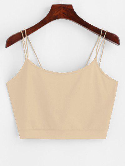 ZAFUL Solid Color Crop Strappy Cami Top - Khaki S