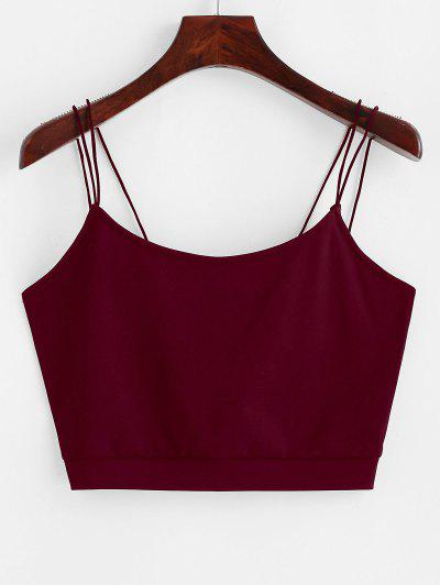 ZAFUL Solid Color Crop Strappy Cami Top - Red Wine M