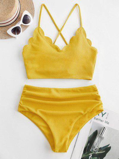 ZAFUL Ribbed Scalloped Lace Up Tummy Control Tankini Swimsuit - Giallo Rubber Ducky Xl