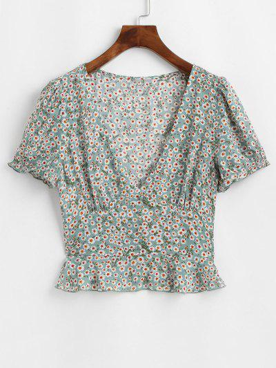 ZAFUL Ditsy Floral Flounce Short Sleeve Blouse - Pale Blue Lily S