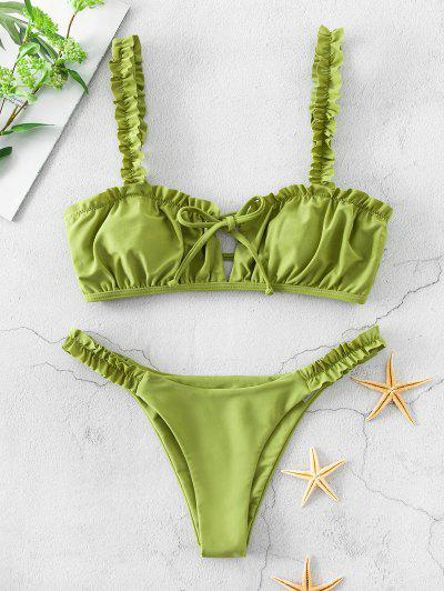 ZAFUL Ruffle Ladder Cut Keyhole Low Waisted Bikini Swimsuit - Pistachio Green M