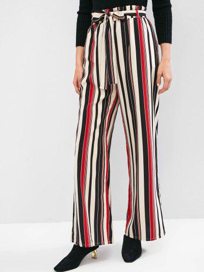 ZAFUL Striped Palazzo Paperbag Pants - Multi-a L