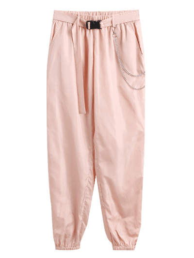 ZAFUL Chain Embellished Belted Jogger Pants