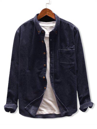 Solid Color Pocket Corduroy Shirt - Cadetblue M