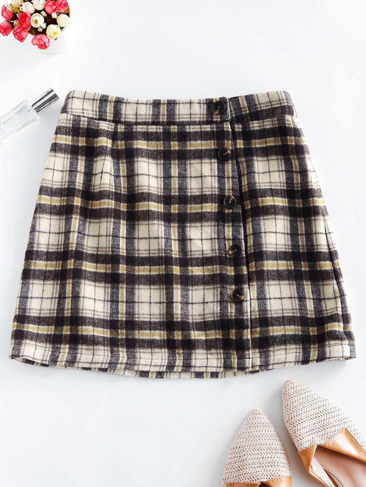 ZAFUL Mock Button Wool Blend Plaid Skirt фото
