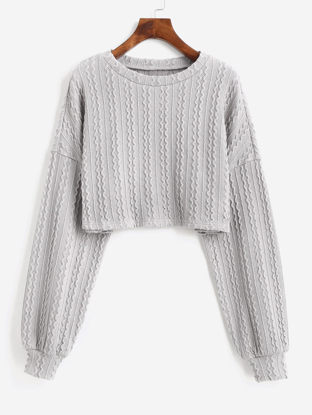 ZAFUL Lantern Sleeves Solid Crop Sweater