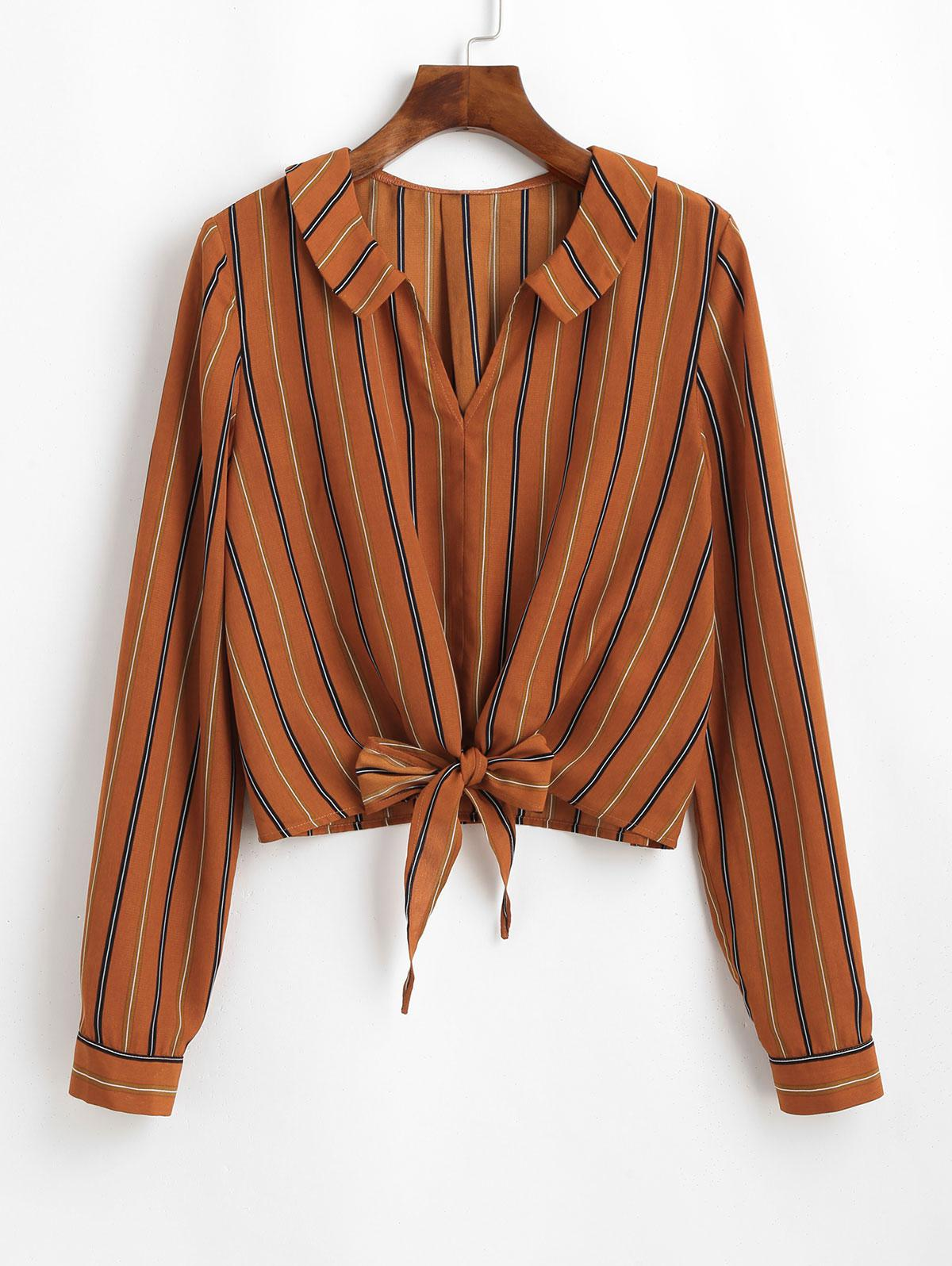 ZAFUL Striped Front Knotted Pullover Blouse