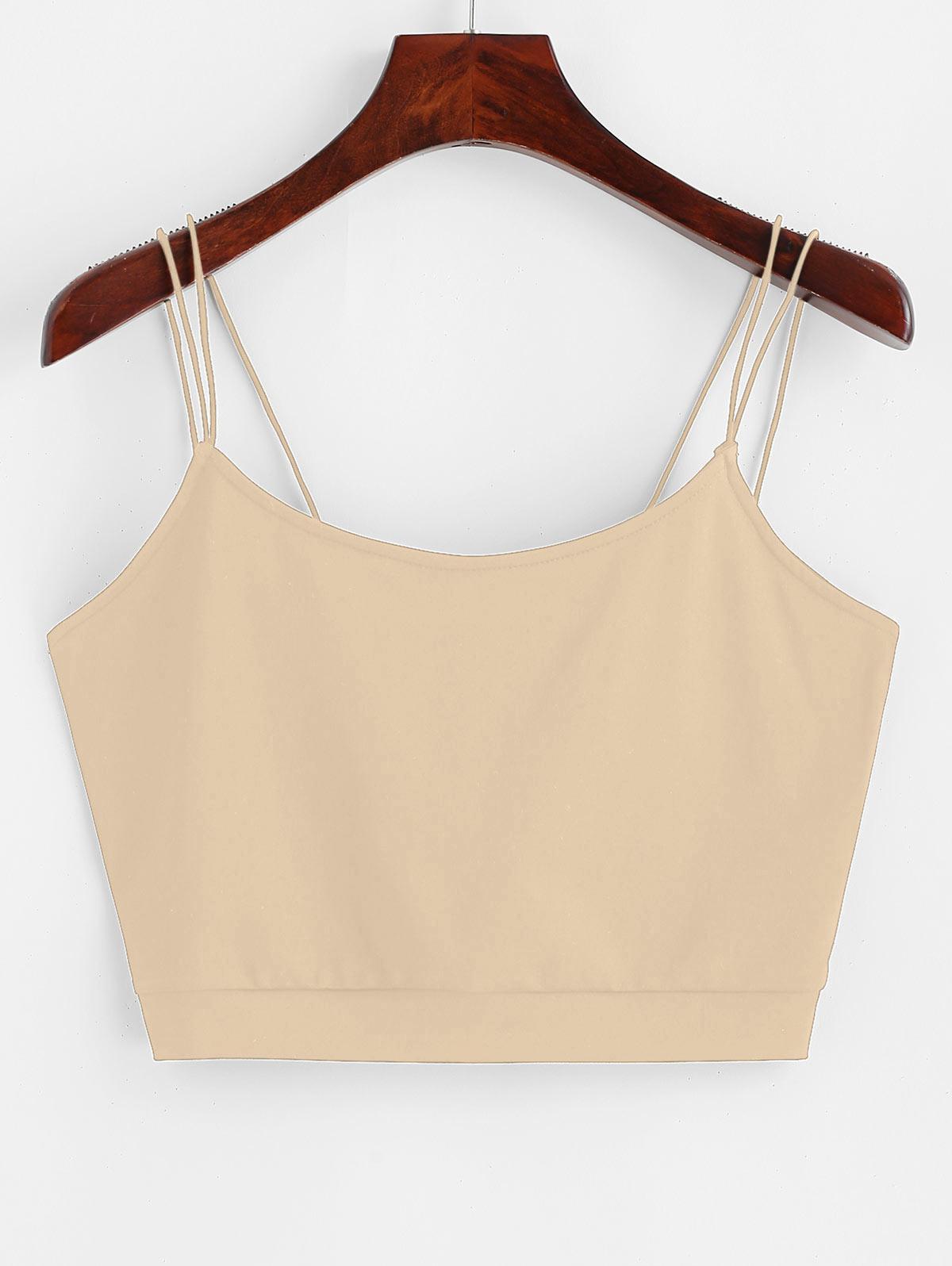 ZAFUL Solid Color Crop Strappy Cami Top
