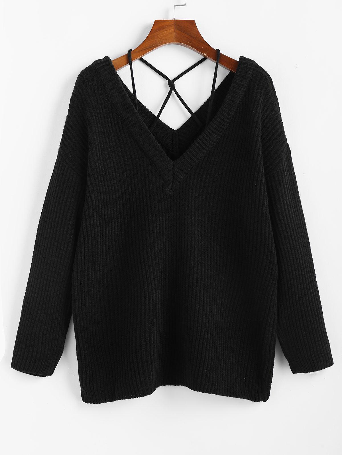 ZAFUL Plunging Drop Shoulder Criss Cross Jumper Sweater