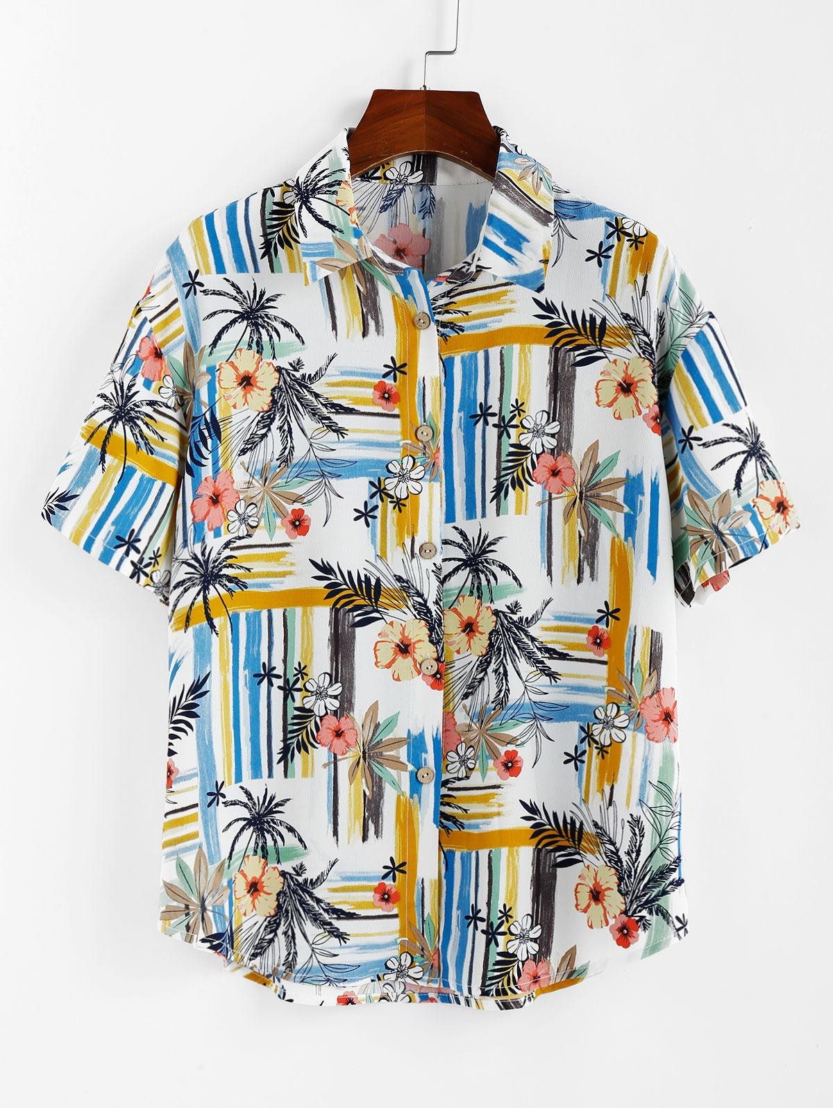 ZAFUL Striped Floral Print Button Up Shirt