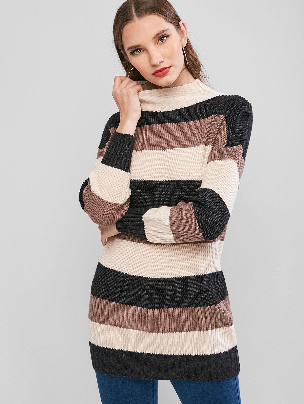 Mock Neck Colorblock Stripes Longline Sweater