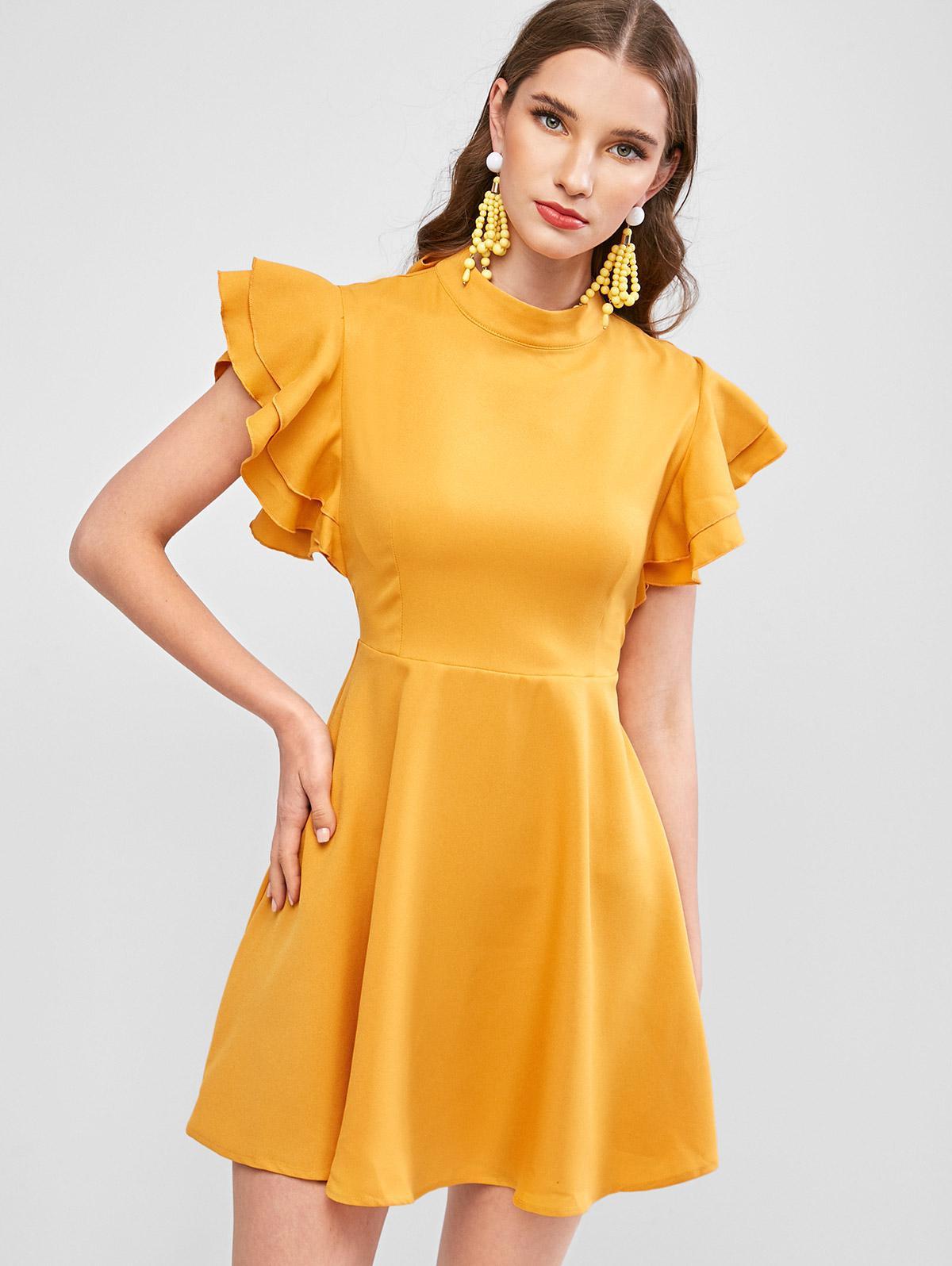 ZAFUL Tie Back Layered Flutter Sleeve Mini Dress