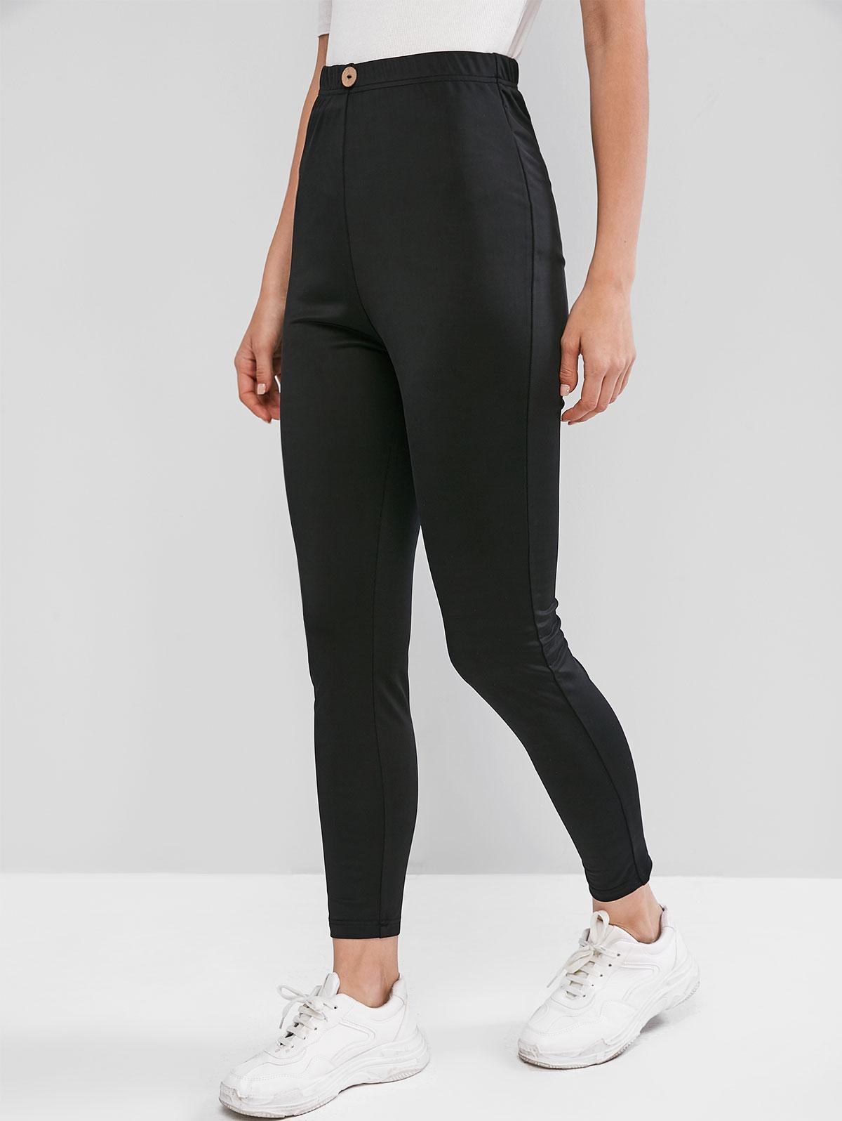 ZAFUL High Waist Mock Button Solid Leggings