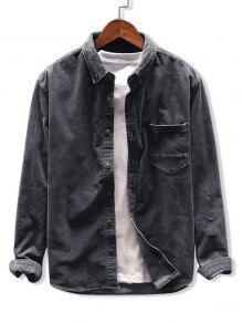 الصلبة قميص اللون جيب سروال قصير - الرمادي الداكن M