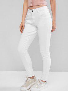 منتصف ارتفاع الجيب نحيل مطاطا جينز - أبيض Xl