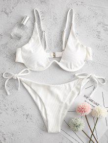 ZAFUL التعادل الجانب Underwire مضلع بيكيني ملابس السباحة - أبيض S
