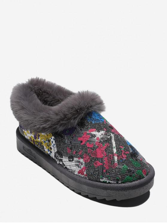 affordable Tie Dye Sequined Snow Boots - GRAY EU 36
