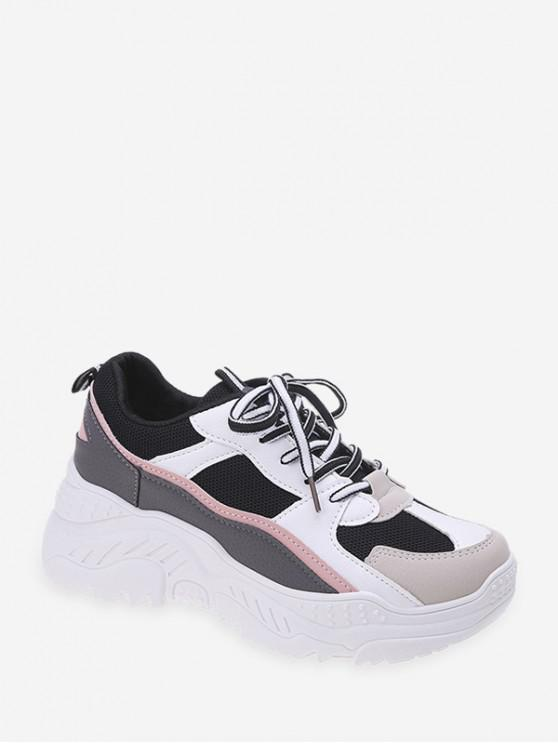 shops Color-blocking Breathable Dad Sneakers - BLACK EU 40