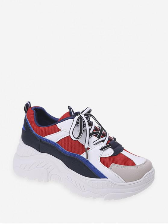 women Color-blocking Breathable Dad Sneakers - LAVA RED EU 41