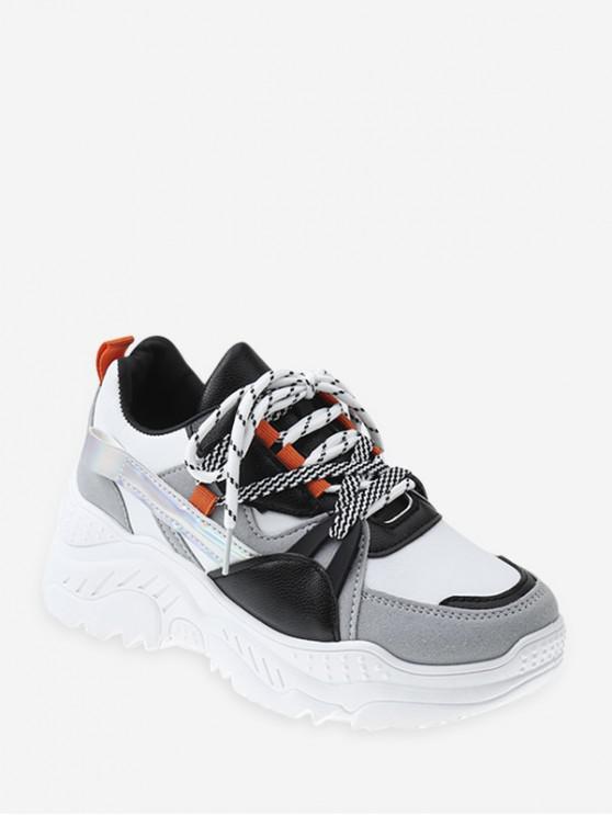 buy Color-blocking Mix Material Platform Sneakers - BLACK EU 37