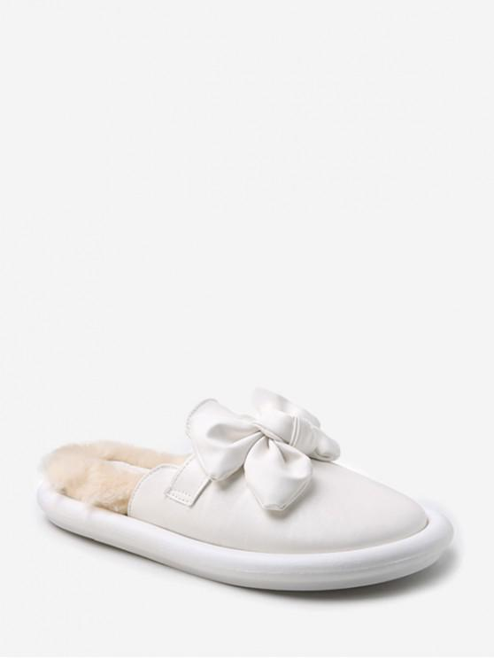 women Front Bowknot Indoor Slippers - WHITE EU 38