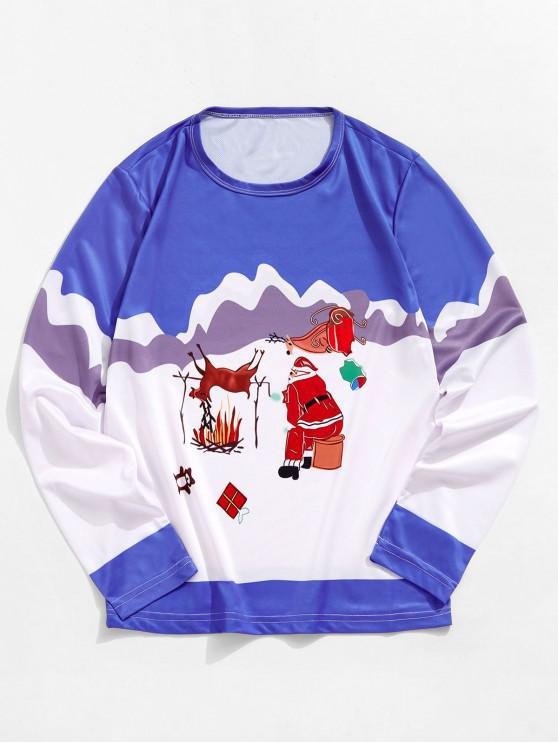 unique Christmas Santa Elk Graphic Long Sleeve T-shirt - OCEAN BLUE S