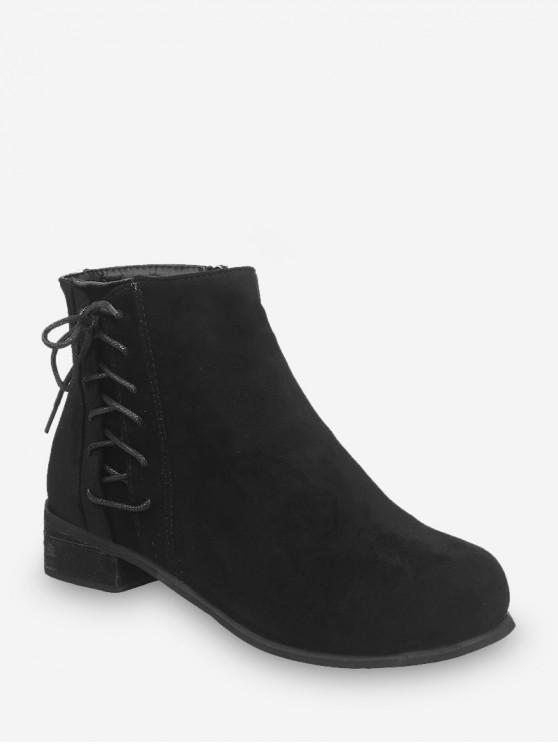 online Side Lace Up Low Heel Ankle Boots - BLACK EU 41