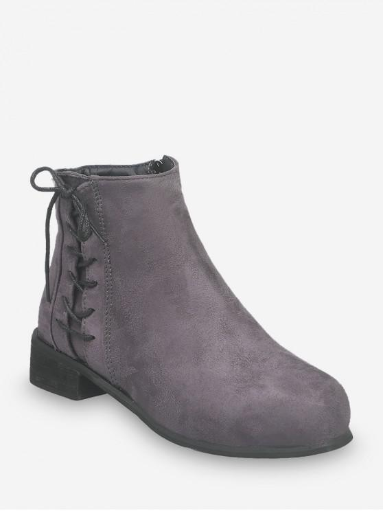 women's Side Lace Up Low Heel Ankle Boots - GRAY EU 39